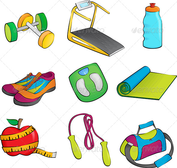GraphicRiver Exercise Equipment Icons 5942972