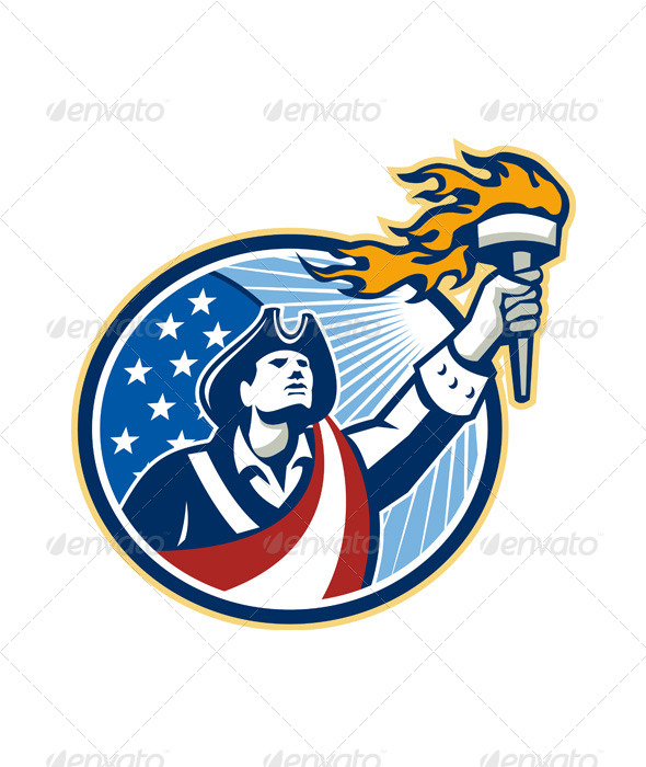 GraphicRiver American Patriot Holding Torch Stars Stripes Flag 5944066