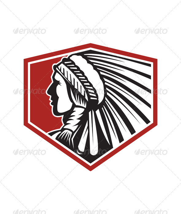 GraphicRiver Native American Indian Warrior Side Retro 5944119