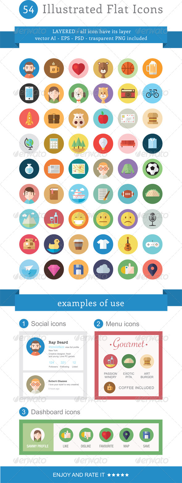 GraphicRiver 54 Illustrated Flat Icons 5947600