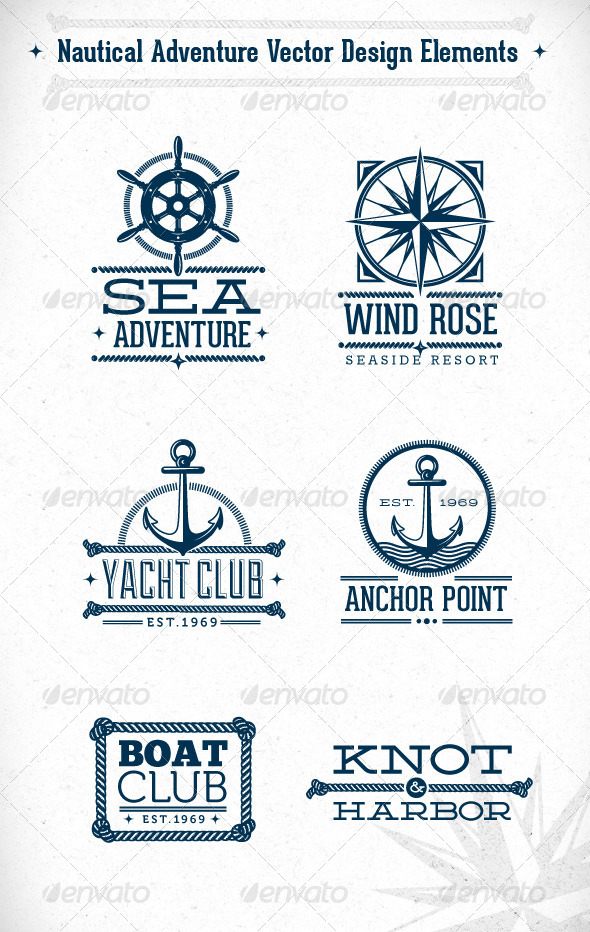 Nautical Adventure Vector Design Elements - Travel Conceptual