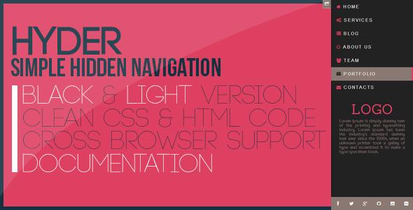 CodeCanyon Hyder Simple Hidden Navigation 5949271