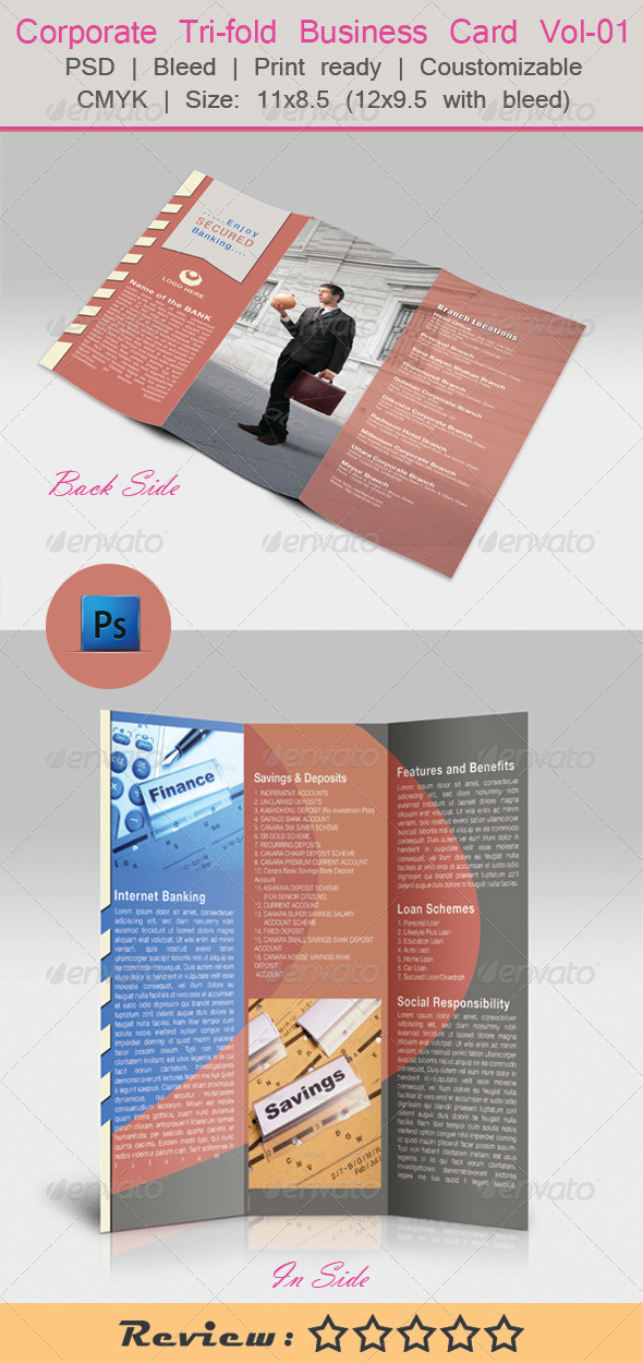 GraphicRiver Corporate Tri-fold Business Card Vol-01 5949854