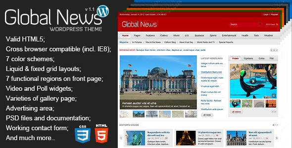 Global News Portal - Responsive WordPress Theme - News / Editorial Blog / Magazine