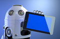 Robot holding blank digital tablet computer - PhotoDune Item for Sale