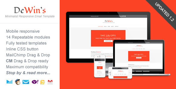 Professional Responsive Email Template - DeWin's - Email Templates Marketing