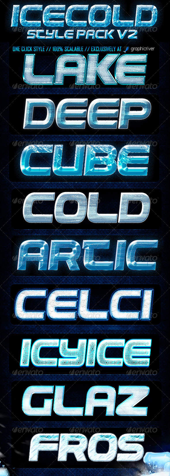 Ice Cold Photoshop Layer Style V2 - Text Effects Styles