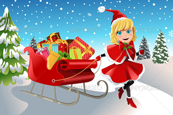 GraphicRiver Christmas Girl Pulling Sleigh 5954350
