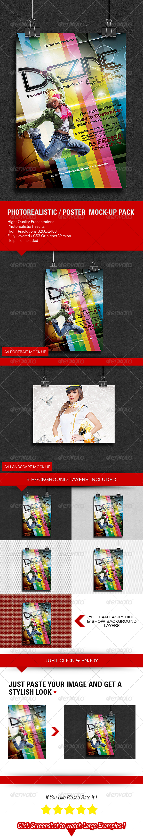 GraphicRiver Photorealistic Poster Mock-up Pack 5927343
