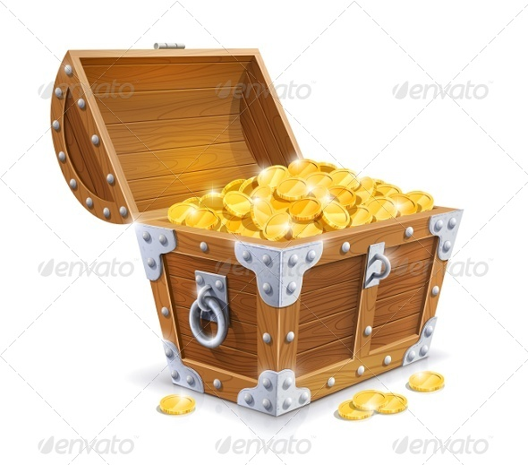 GraphicRiver Vintage Wooden Chest with Golden Coin 5954954
