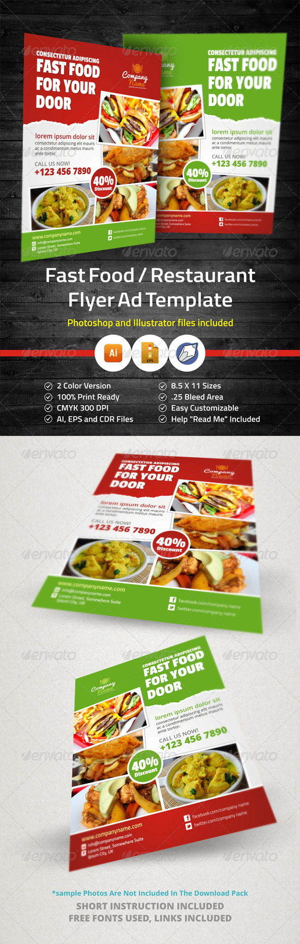 GraphicRiver Fast Food Restaurant Flyer Ad Template 5926987