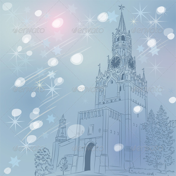 Christmas Cityscape of the Moscow Kremlin - Buildings Objects