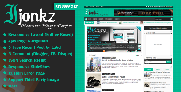 ThemeForest Ijonkz Responsive Magazine News Blogger Template 5958442