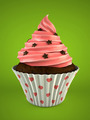 Chocolate muffin on green background - PhotoDune Item for Sale