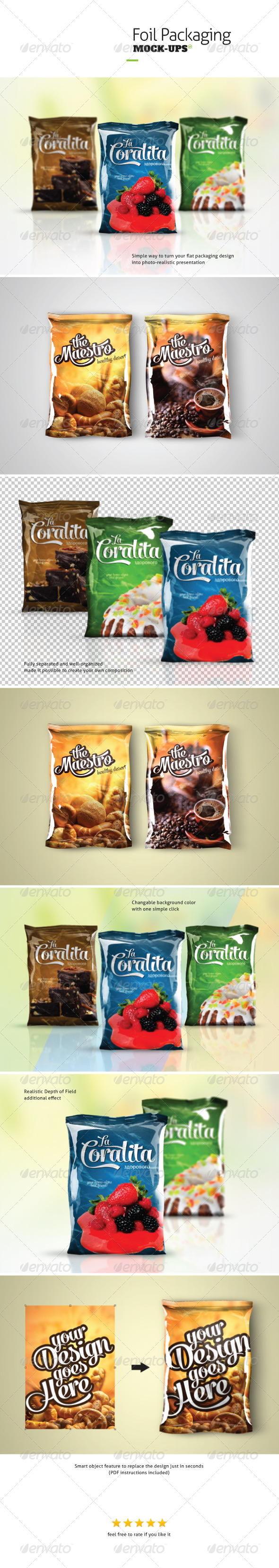 Foil Packaging Mock-ups - Food and Drink Packaging