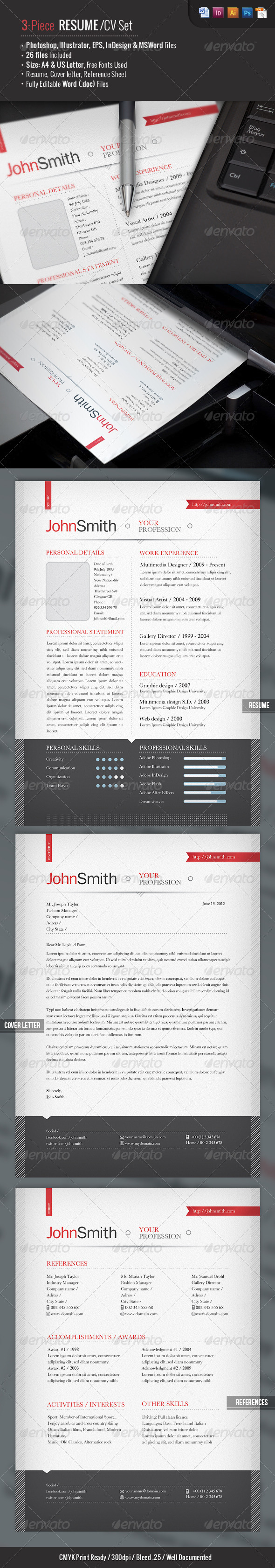 Ready 3-Piece Resume/CV Set - Resumes Stationery