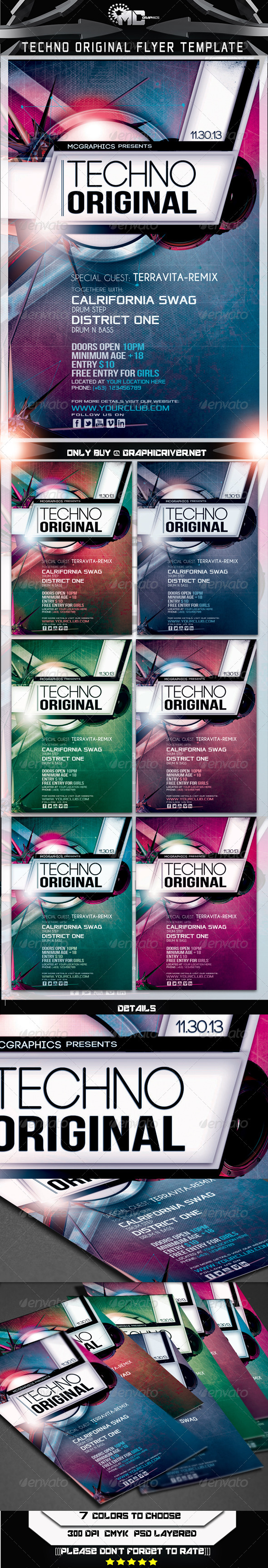 GraphicRiver Techno Original Flyer Template 5968078