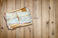 Pile of old envelopes on wooden background - PhotoDune Item for Sale