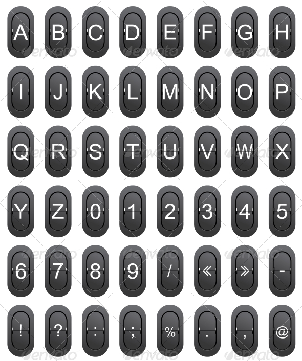 GraphicRiver Letter Numeric and Marks on Mechanical Scoreboard 5969676