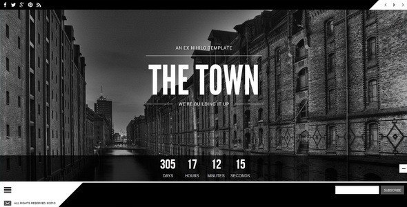 The Town || Responsive Coming Soon Page - Under Construction Specialty Pages