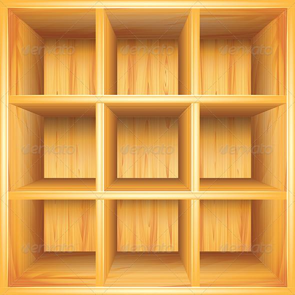 GraphicRiver Wooden Bookshelf Vector Background 5971409