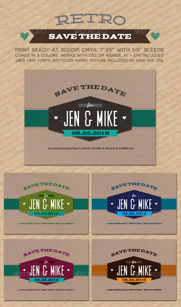 Retro Save The Date - Weddings Cards & Invites