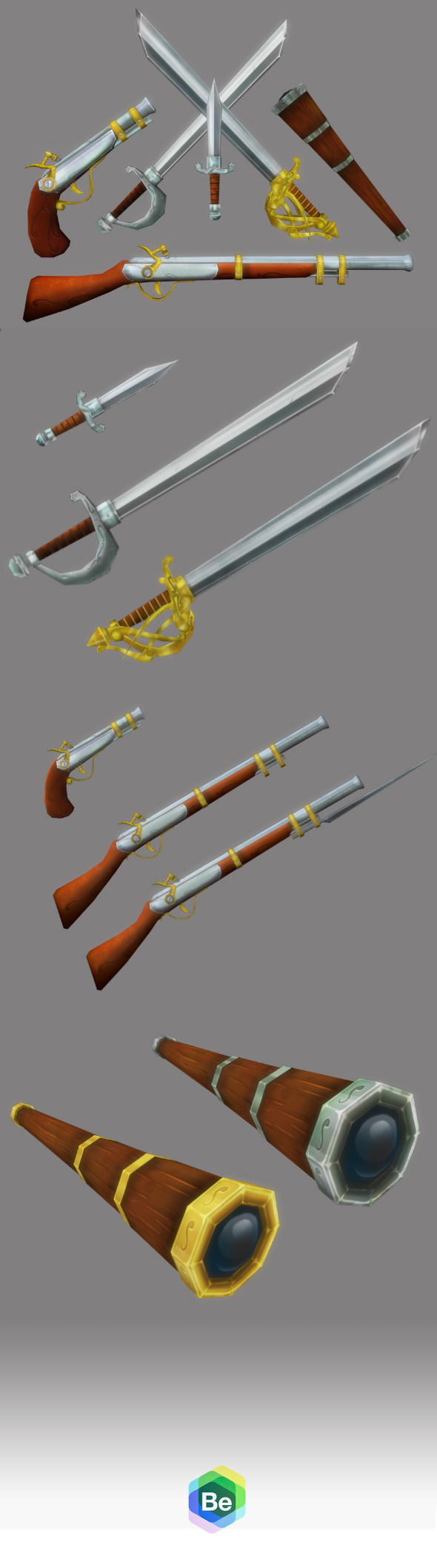 3DOcean Low Poly Cartoonish Pirate Weapons Kit 5972363