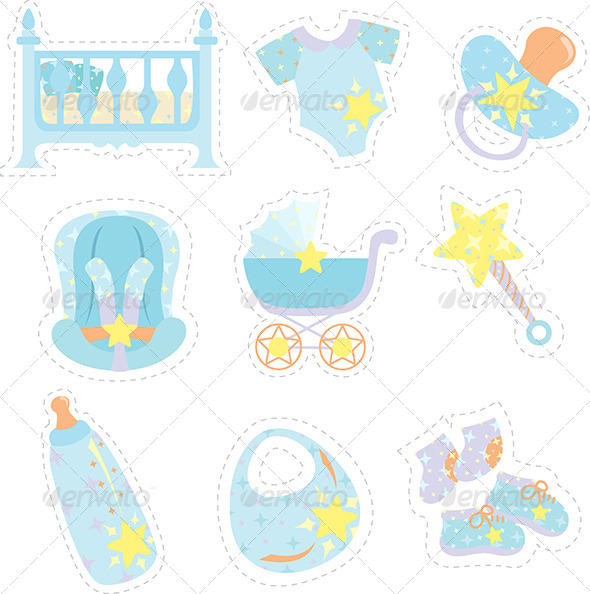 GraphicRiver Baby Boy Items Icons 5973574