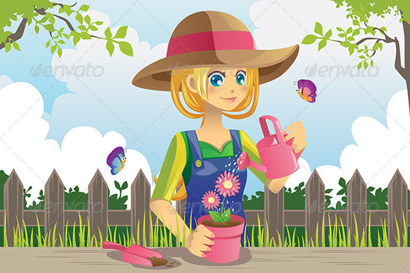 GraphicRiver Gardening Woman 5973995