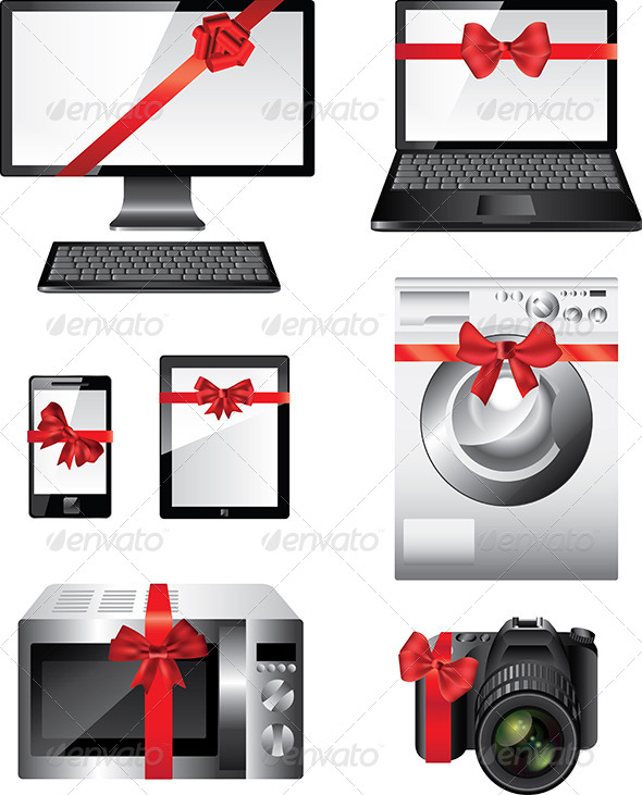 GraphicRiver Popular Electronic Devices Packed as Presents 5974067