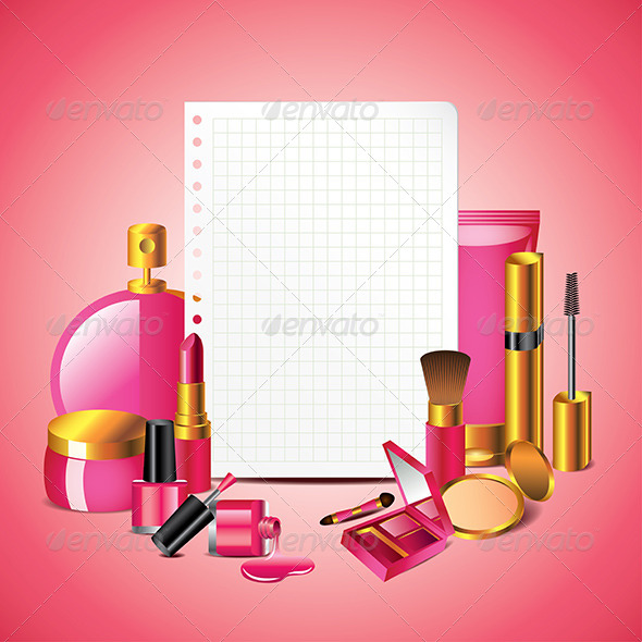 GraphicRiver Cosmetics with Blank Paper Vector Background 5974590