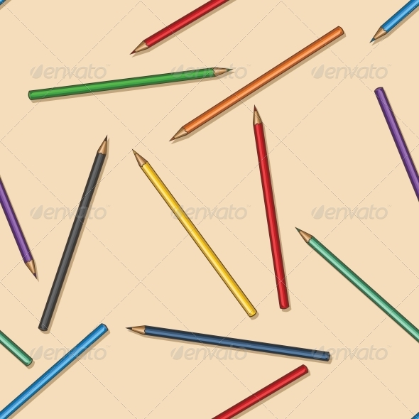 GraphicRiver Vector Seamless Pattern of Colored Pencils 5974659