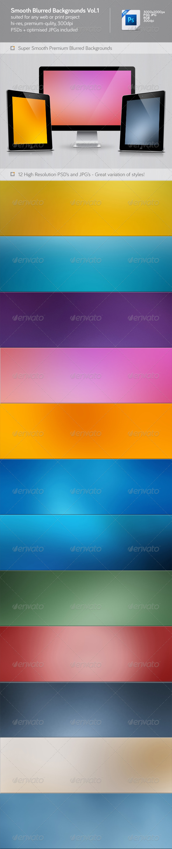 Smooth Blurred Backgrounds Vol.1 - Abstract Backgrounds