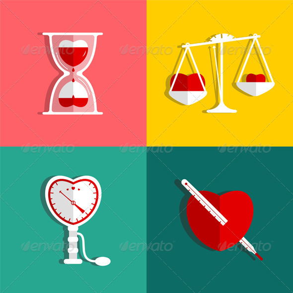 GraphicRiver Love Measure and Medicine Heart Checkup Set 5976518
