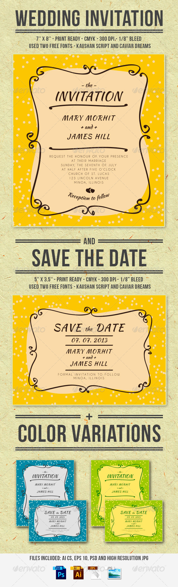 GraphicRiver Wedding Invitation and Save The Date 5950234