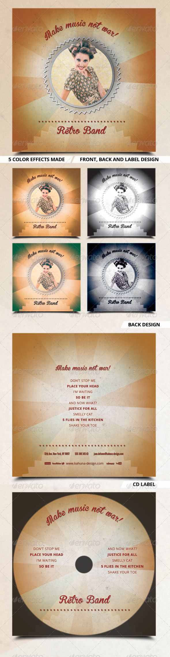 Retro Band CD Artwork - CD & DVD artwork Print Templates