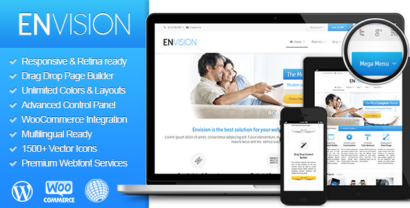 General Features List WordPress 3.6 Tested and Approved Clean, Modern Design can be used for any type of website – Envision is a multipurpose WordPress t