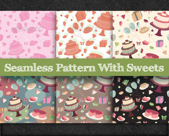 GraphicRiver Seamless Pattern with Sweets 5979436