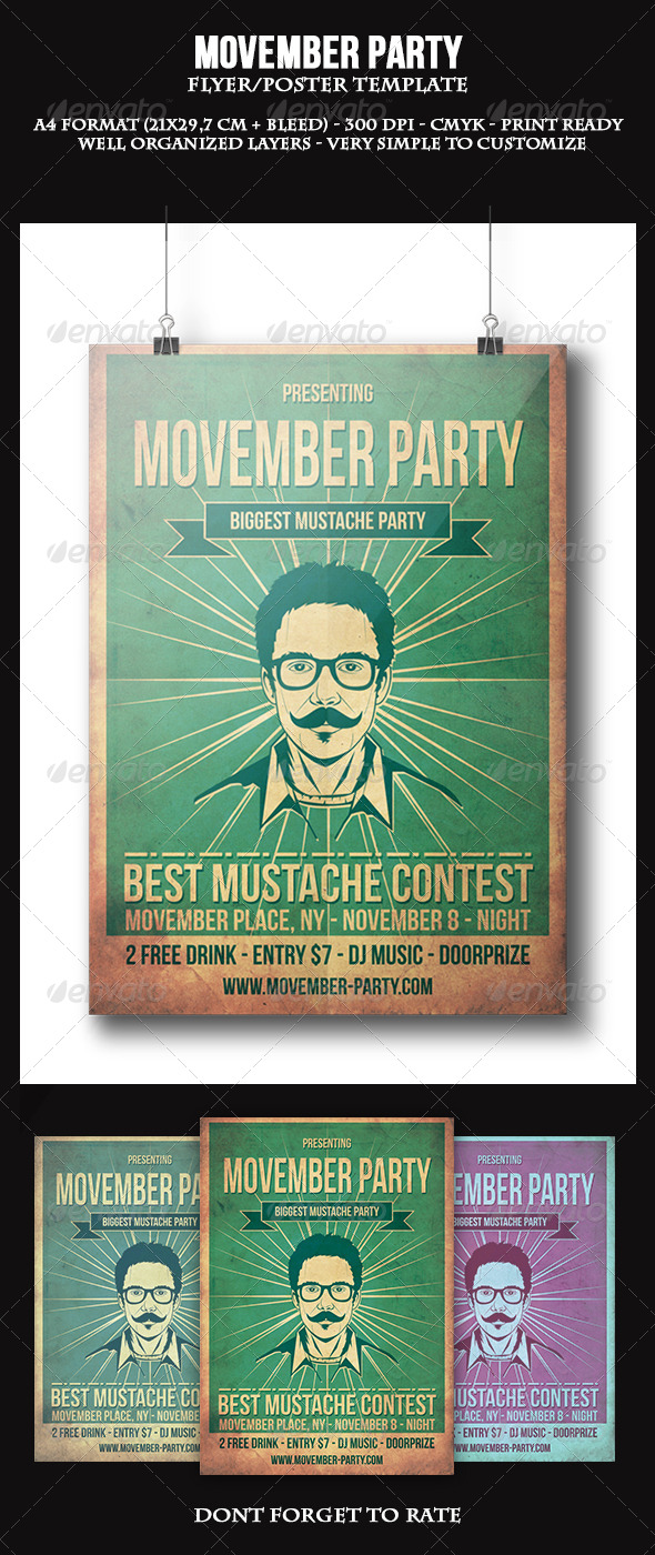 Movember Party Flyer Template - Clubs & Parties Events