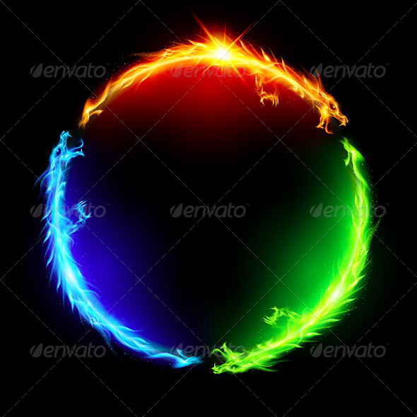 GraphicRiver Fire Dragons in Circle 5980040