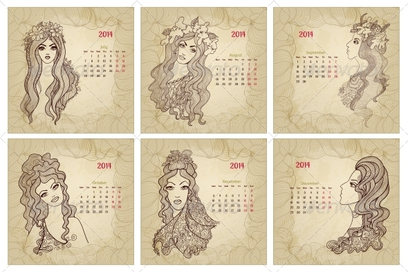 GraphicRiver Vintage Style 2014 Year Vector Calendar Part 2 5980115