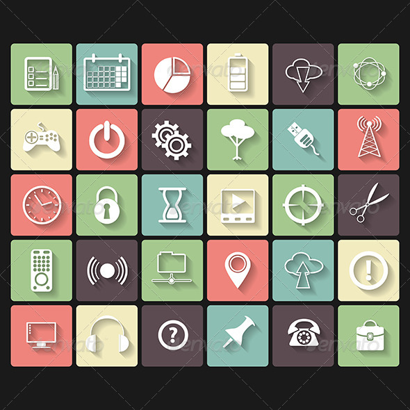 GraphicRiver Universal Flat Icons for Web and Mobile 5980382