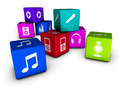 Music Web Icons On Colorful Cubes - PhotoDune Item for Sale