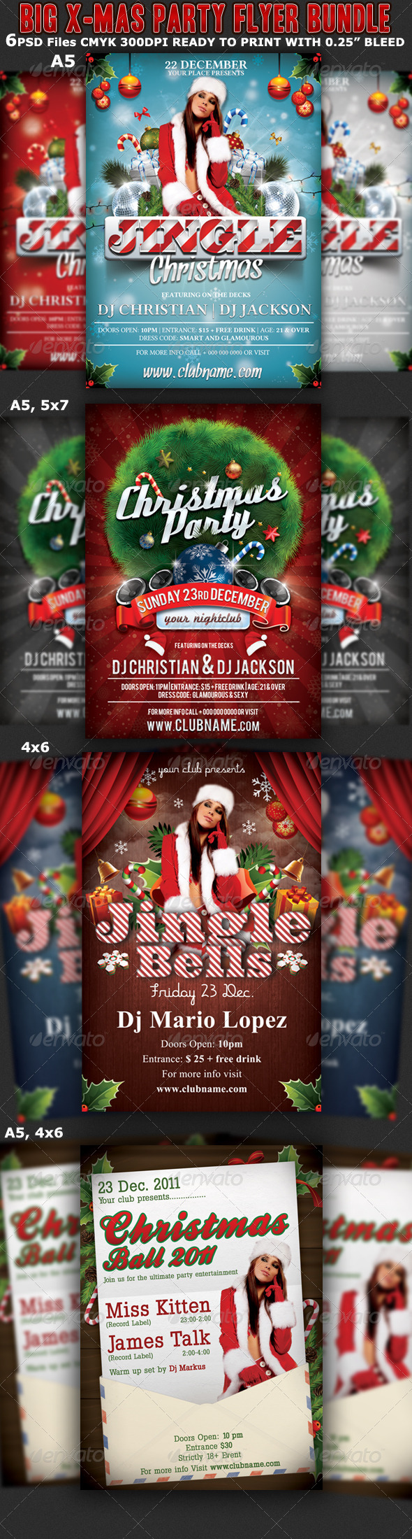 Christmas Party Flyer Template Bundle - Clubs & Parties Events