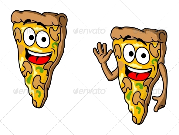 GraphicRiver Pizza Slice in Cartoon Style 5981277