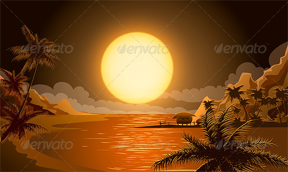 GraphicRiver The Sunset in Micronesia 5981384