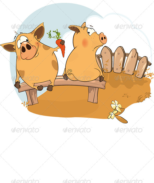 GraphicRiver Let s be Friends a Story about Two Pigs 5982380