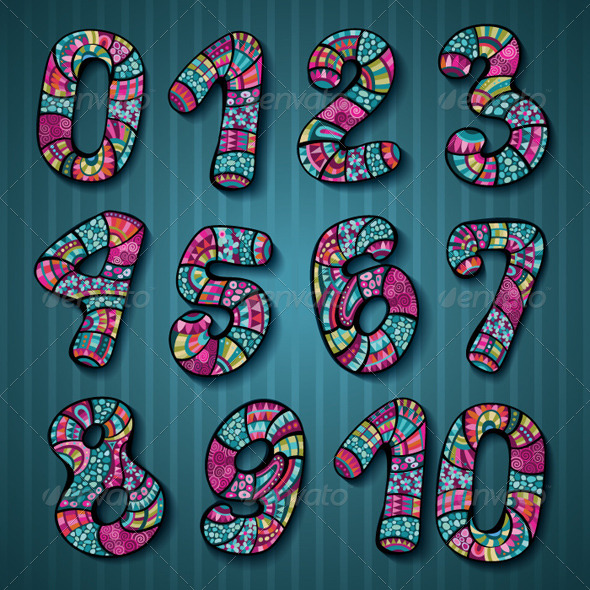 GraphicRiver Hand Drawn Decorative Vector Numbers 5976715