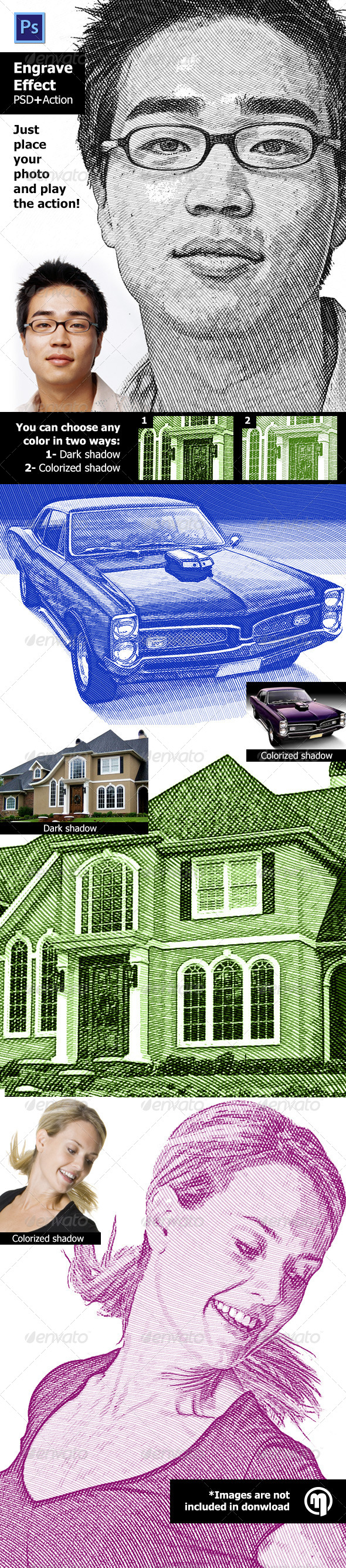 GraphicRiver Engrave Effect Photoshop Action 5986448