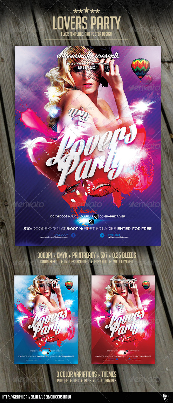 Lovers Party Flyer Template - Clubs & Parties Events
